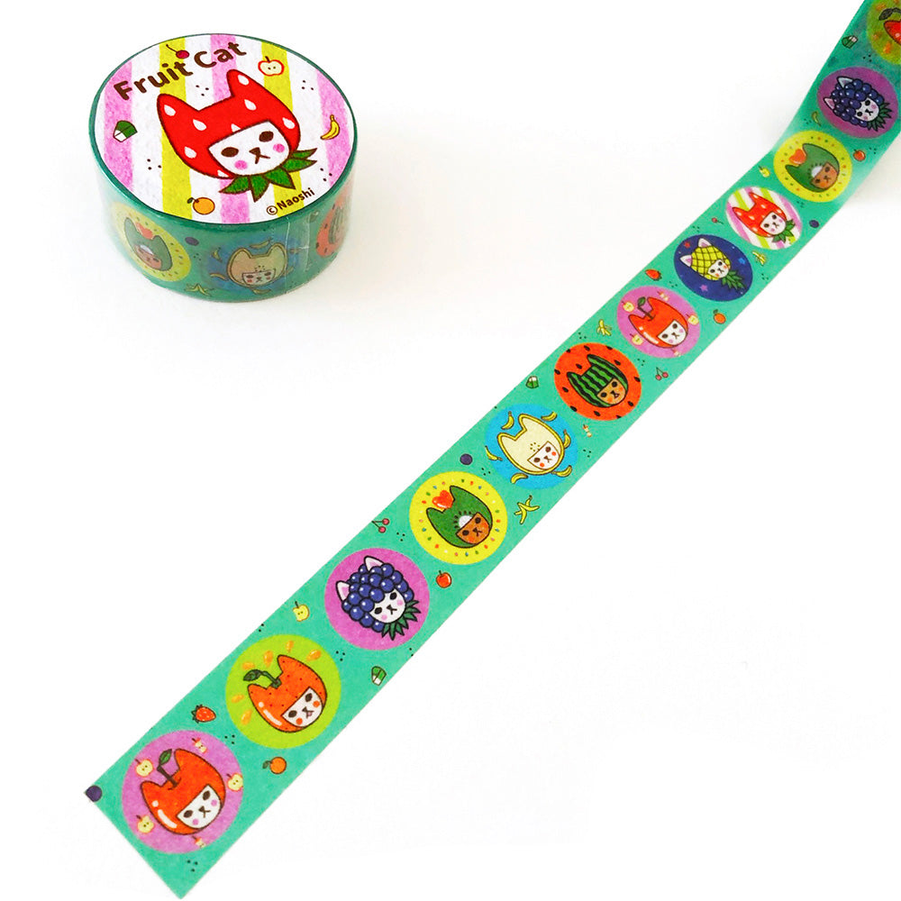Fruit Cat (Teal) Washi Tape