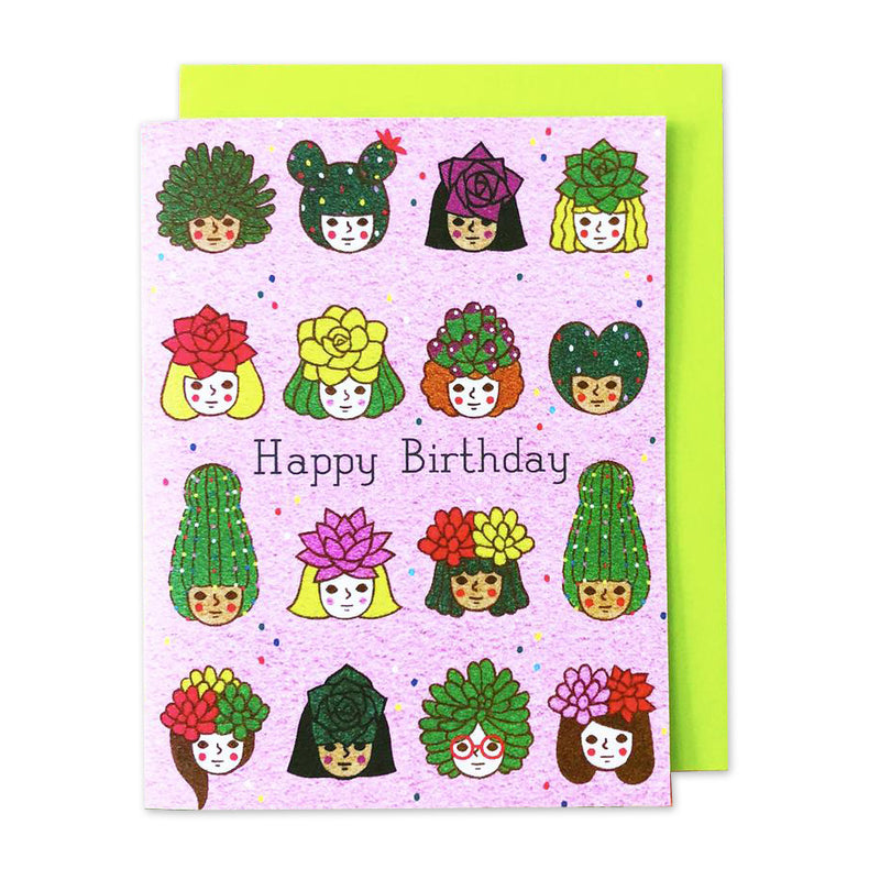 Happy Bday Succulent Girls Card