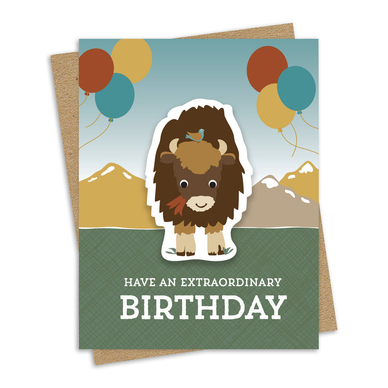 Bison Birthday Sticker Card