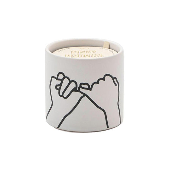 Impressions 5.75 oz. White Pinky Promise On Ceramic Candle: Wild Fig + Cedar