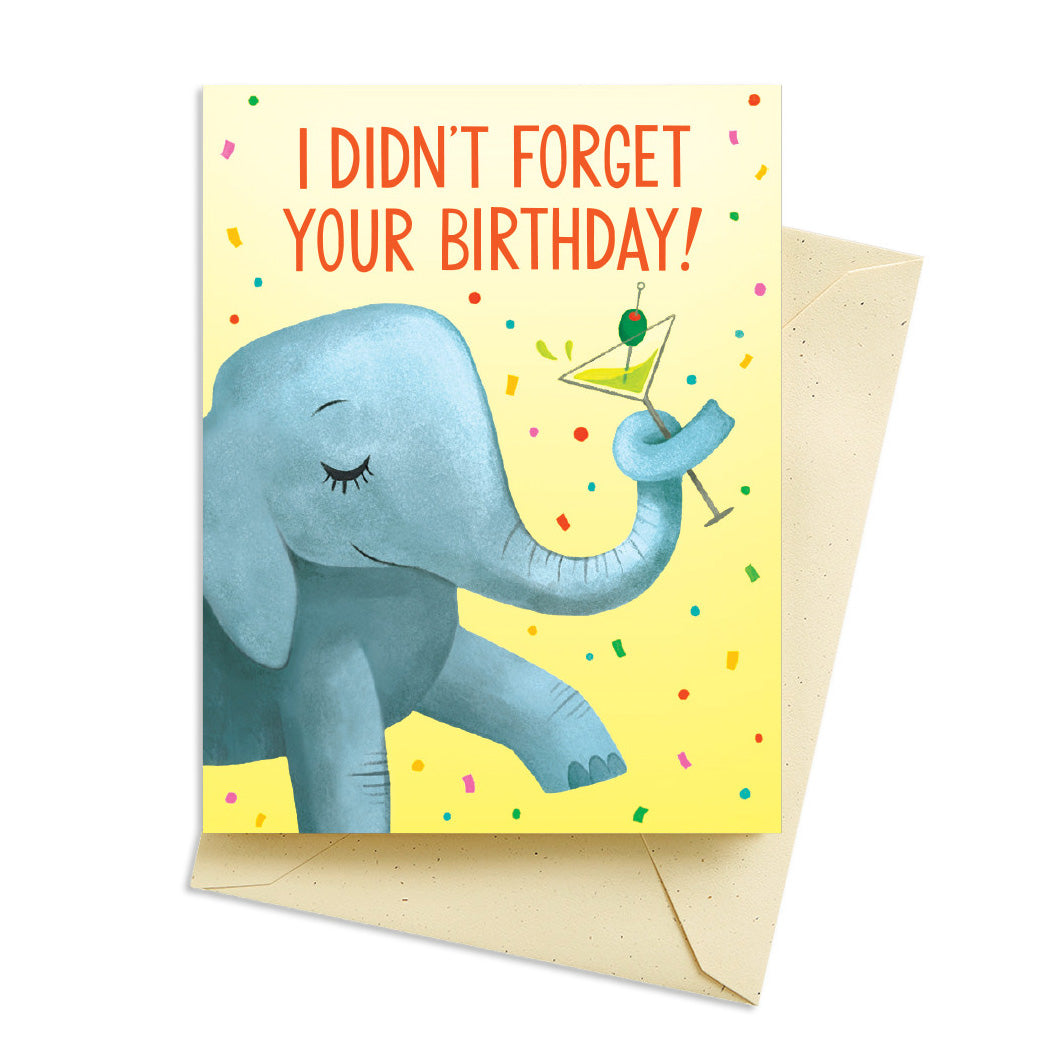 Elephant Martini Birthday Card