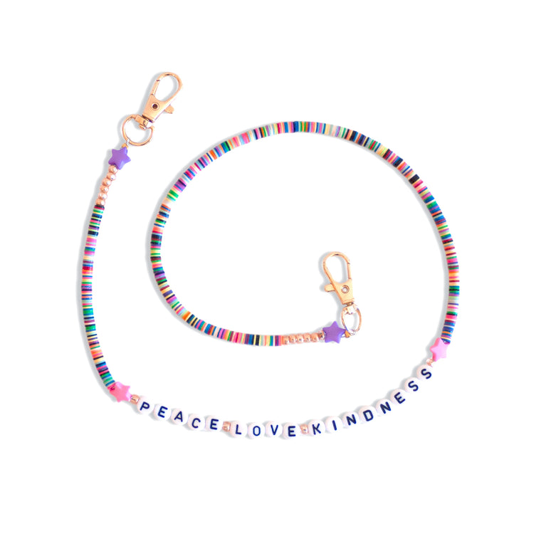 Peace Love Kindness Beaded Mask Chain Necklace