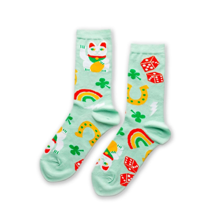 Lucky Cat & Clover Womens Crew Socks