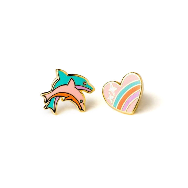 Heart & Dolphin Earrings