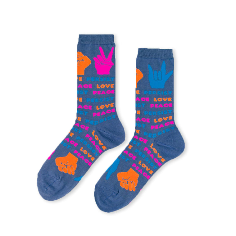 Love Peace Resist Womens Crew Socks