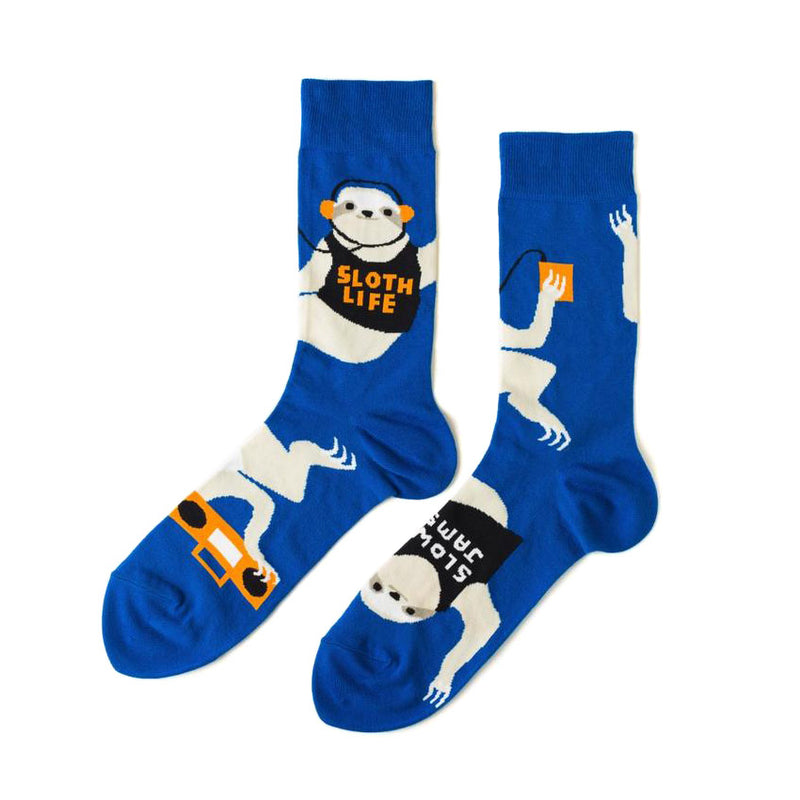 Sloth Life Mens Crew Socks by Yellow Owl Workshop from Leanna Lin's Wonderland