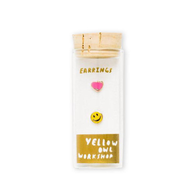 Happy Face & Heart Earrings by Yellow Owl Workshop from Leanna Lin's Wonderland