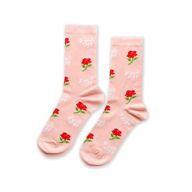 F*** Off Rose Womens Crew Socks
