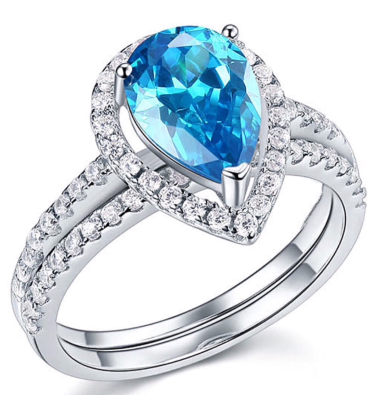 Ring Set | 2ct Blue Cubic Zirconia Pear Shape Promise Cocktail Ring
