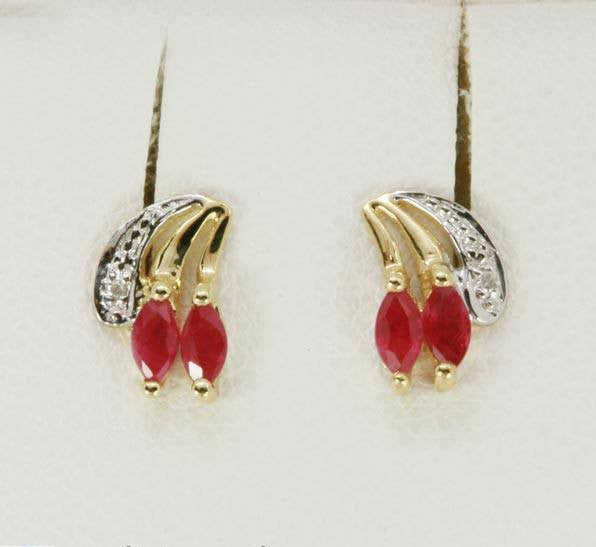 9K Gold Natural Ruby & Diamond Stud Birthstone Earrings