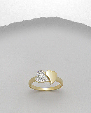 Gold promise heart ring with clear crystals for women