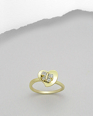Gold Butterfly Heart Ring