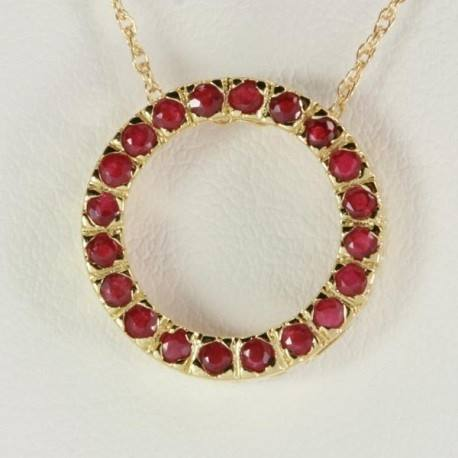 9ct Yellow Gold Natural Ruby Circle Pendant
