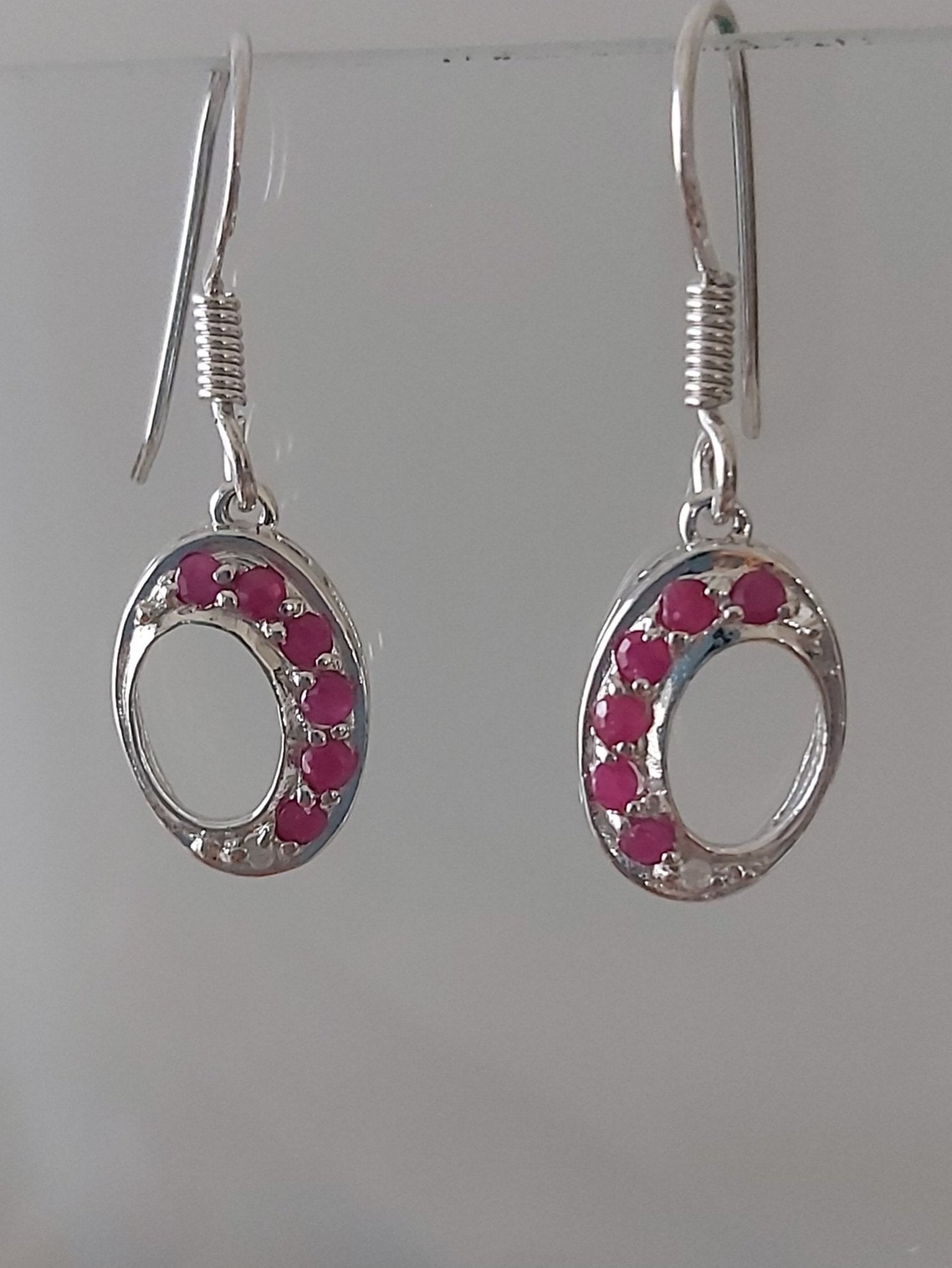 Sterling Silver Ruby Gemstone Drop Hook Earrings