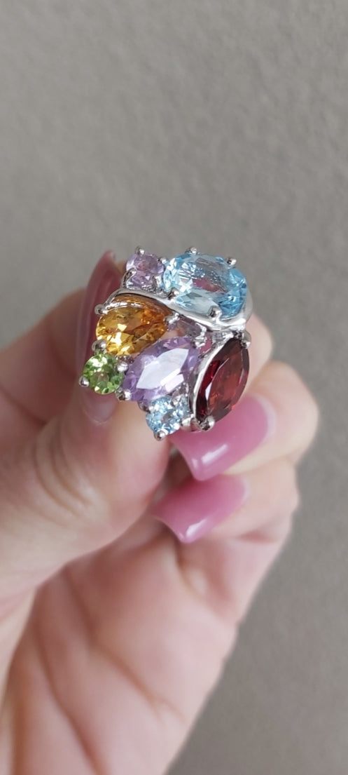 Silver Gemstone Ring With Amethyst, Topaz, Garnet Citrine and Peridot.