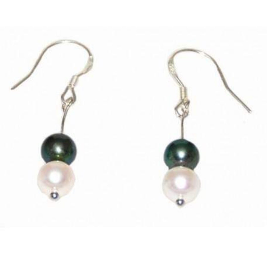 Sterling Silver White & Black Pearl Hook Earrings