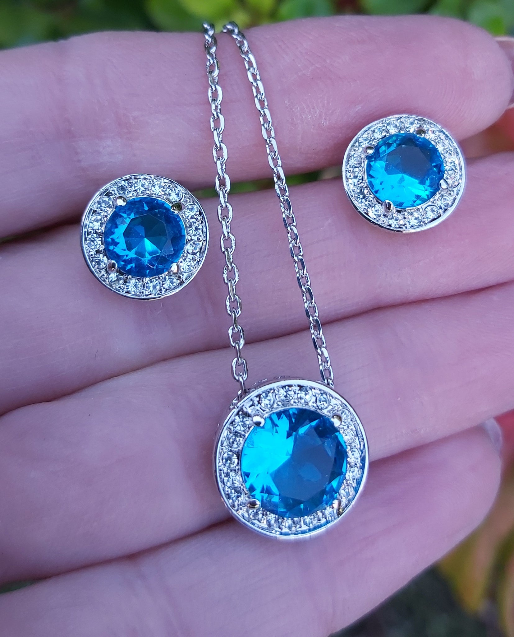 Fashion Earrings Set Blue Crystal Round  Necklace Earrings