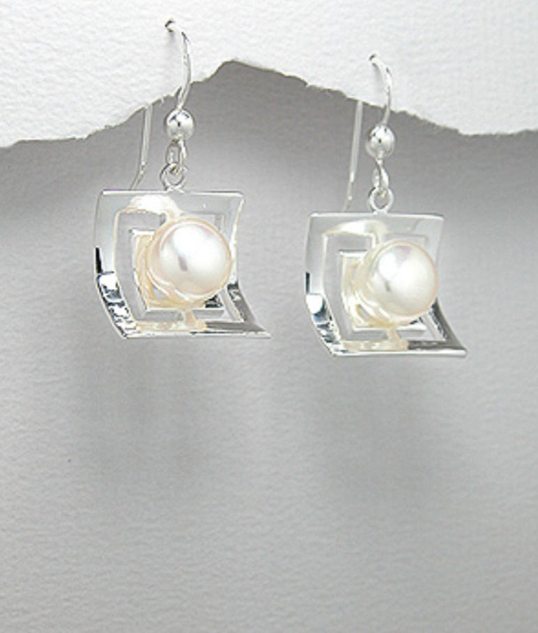 Sterling Silver White Pearl Hook Earrings