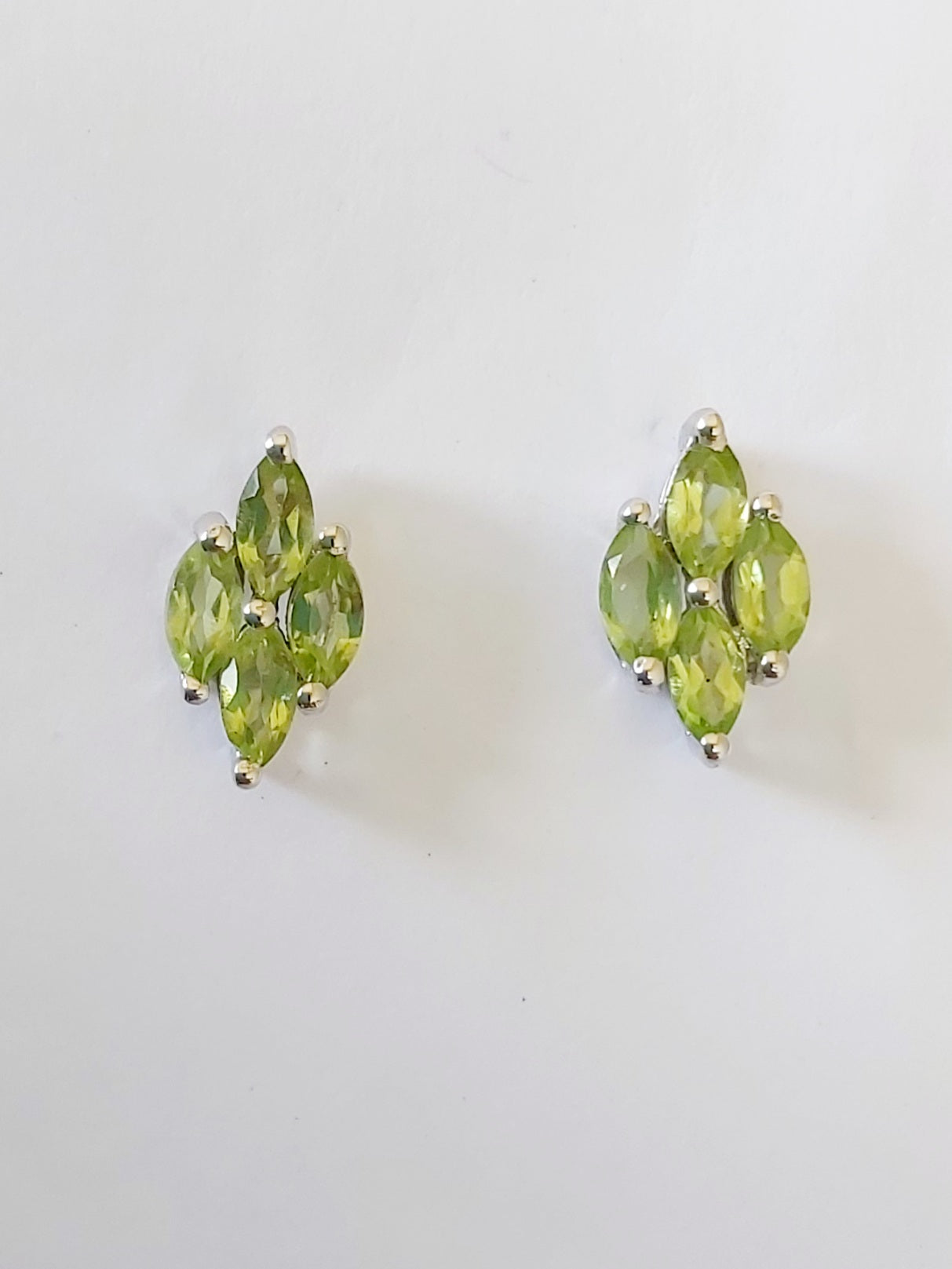 Sterling Silver Green Marquise Peridot Stud Earrings