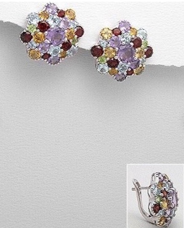 sterling silver gemstone earrings for women with topaz,ruby,amethyst,citrine flower design