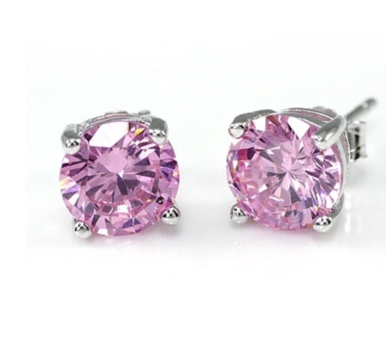 CZ Earring | 1ct Pink Solitaire Claw Set Earrings