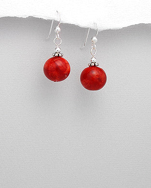 Coral Earrings jewellery with sterling  Silver and Coral Drop