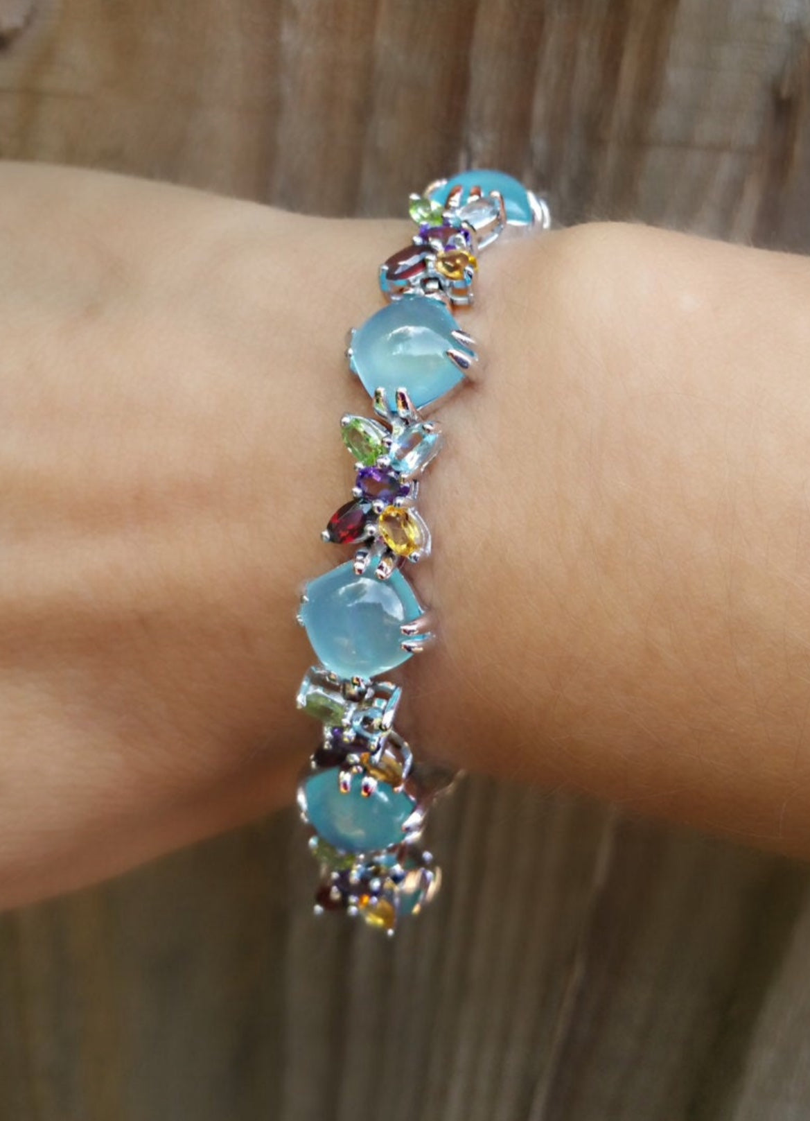 Bracelet | Sterling Silver Butterfly Natural Gemstone Bracelet.