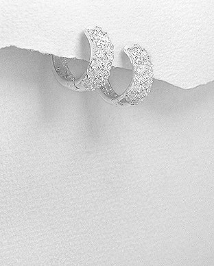 Sterling Silver Cubic Zirconia Small Hoop Huggies Earrings