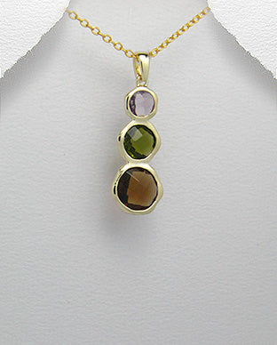 Gold crystal necklace for women online with three crystal