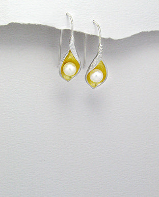 Sterling Silver & Gold White Pearl Earrings
