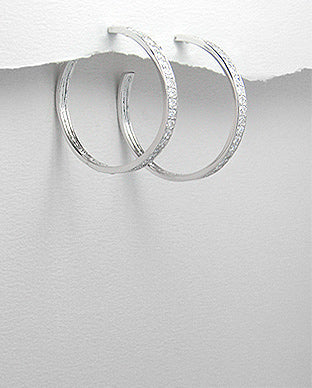 Sterling Silver Cubic Zirconia Hoop Earrings Silver