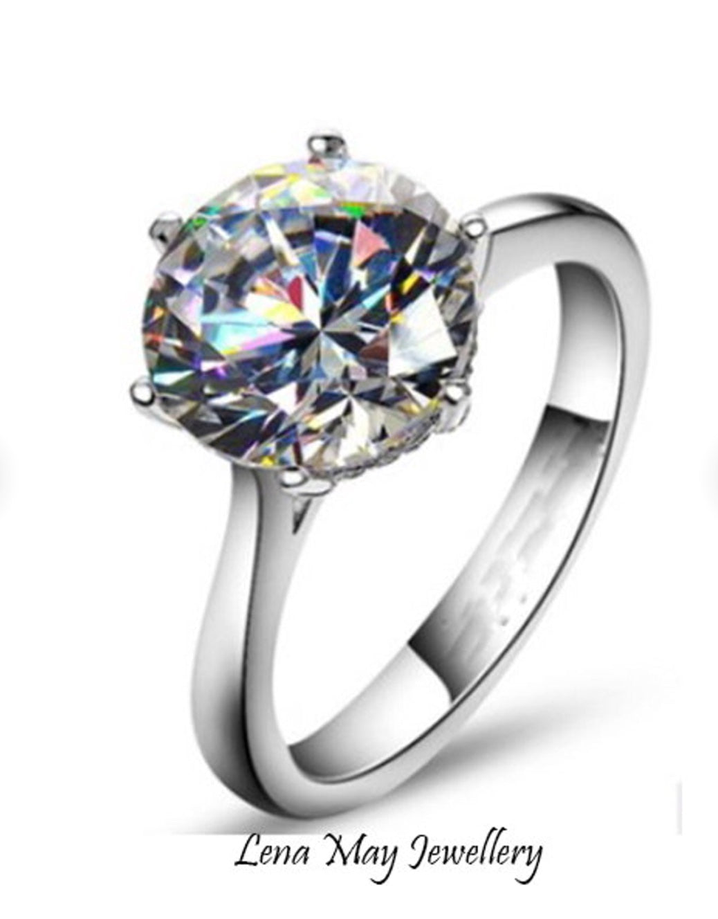 Simulated Diamond  | 4ct Solitaire Engagement Simulated Diamond Ring