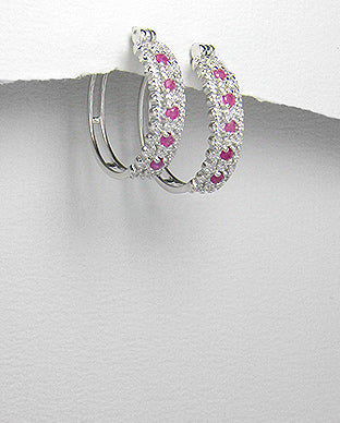 Silver Hoop Earrings with Ruby and Diamond