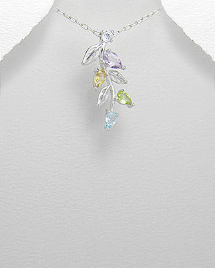 Pendant with amethyst, citrine, topaz and peridot set in 925 sterling silver and finished with rhodium flower Necklace.