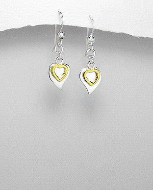 Sterling silver and yellow gold double heart dangle hook earrings jewellery online are just so beautiful.