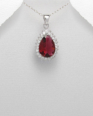 CZ Pendant Silver Red CZ Tear Shape Royal Cluster Pendant