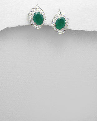 Silver Green Agate Stud Earrings