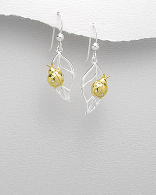 925 Silver Lady Bug Hook Drop Earrings
