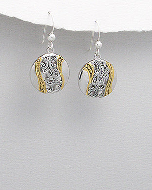 Sterling silver and Gold round abstract hook dangle earrings online Melbourne Jewellery Earrings Australia