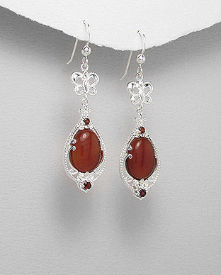 Silver long dangle statement vintage drop gemstone Jewelry earrings