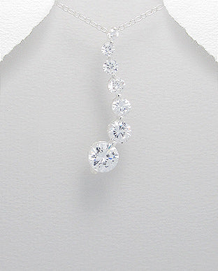 sterling silver bridal cz long staement necklace
