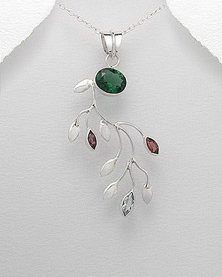 Sterling Silver Gemstone Statement Pendant Necklace