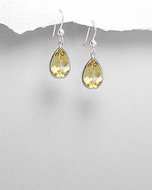Sterling Silver Teardrop Citrine Hook Dangle Earrings