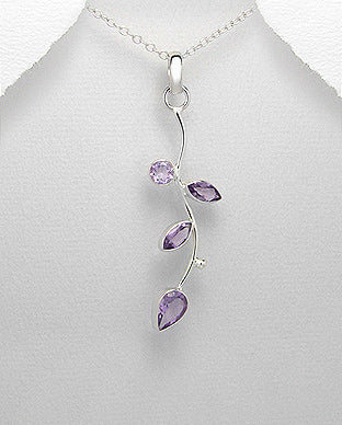 sterling silver Amethyst leaf style necklace for women online.