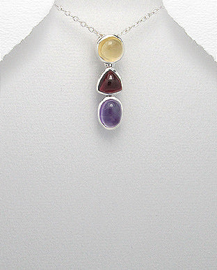 Sterling Silver Natural Gemstone Pendant