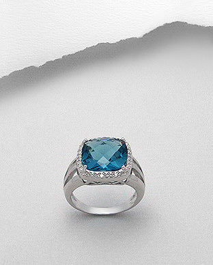 Statement Blue Cubic Zirconia Promise Ring