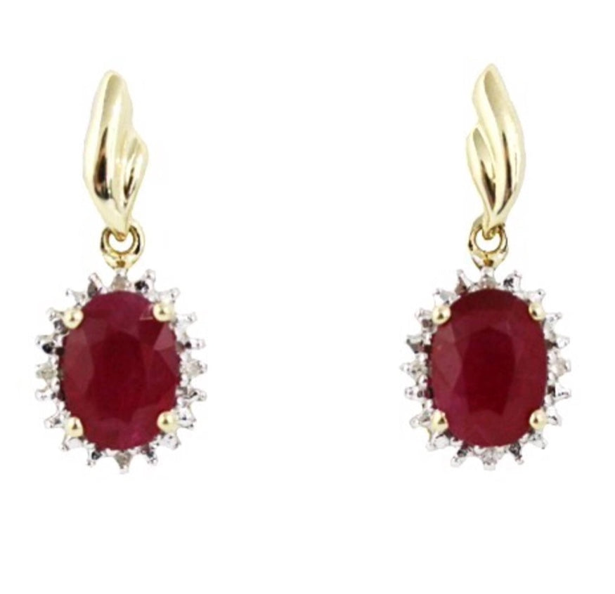 Diamond Earrings | 9ct Ruby and Diamond Earrings
