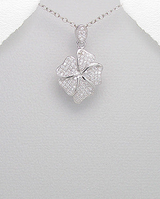 silver dainty cubic zirconia flower pendant necklace jewellery gift