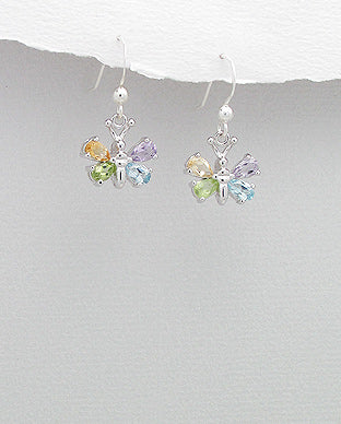 Sterling Silver Butterfly Gemstone Hook Earrings