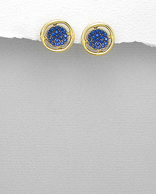 Simple gold blue crystal fashion stud earrings jewelry for women